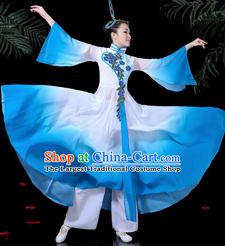 Chinese Classical Dance Costume Traditional Umbrella Dance Fan Dance Blue Dress for Women
