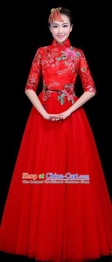 Professional Dance Modern Dance Costume Stage Performance Chorus Red Veil Dress for Women