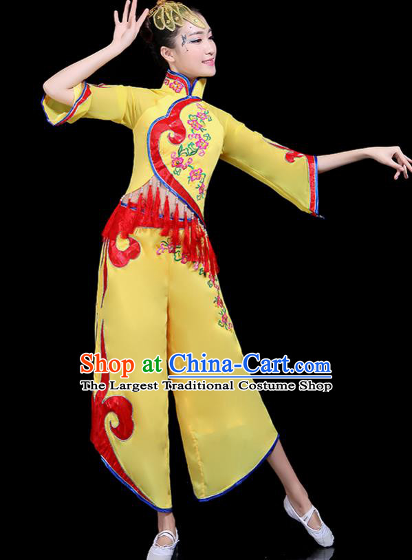 Traditional Fan Dance Yangko Yellow Costumes Chinese Folk Dance Umbrella Dance Costume for Women