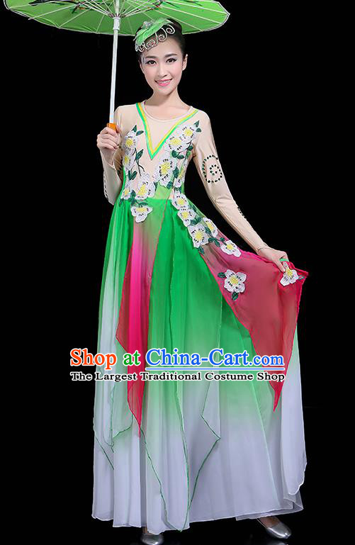 Traditional Fan Dance Classical Dance Green Dress Chinese Folk Dance Umbrella Dance Costume for Women
