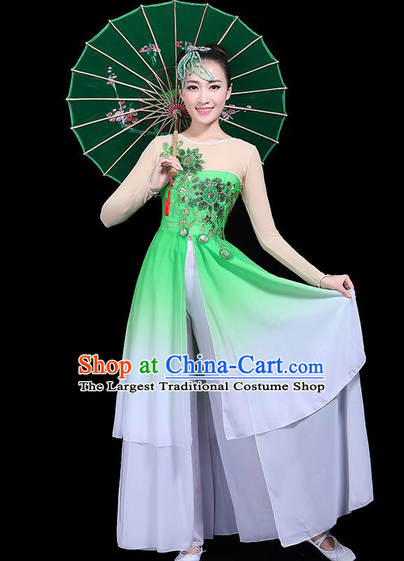 Traditional Classical Jasmine Flower Dance Green Dress Chinese Folk Dance Umbrella Dance Costume for Women