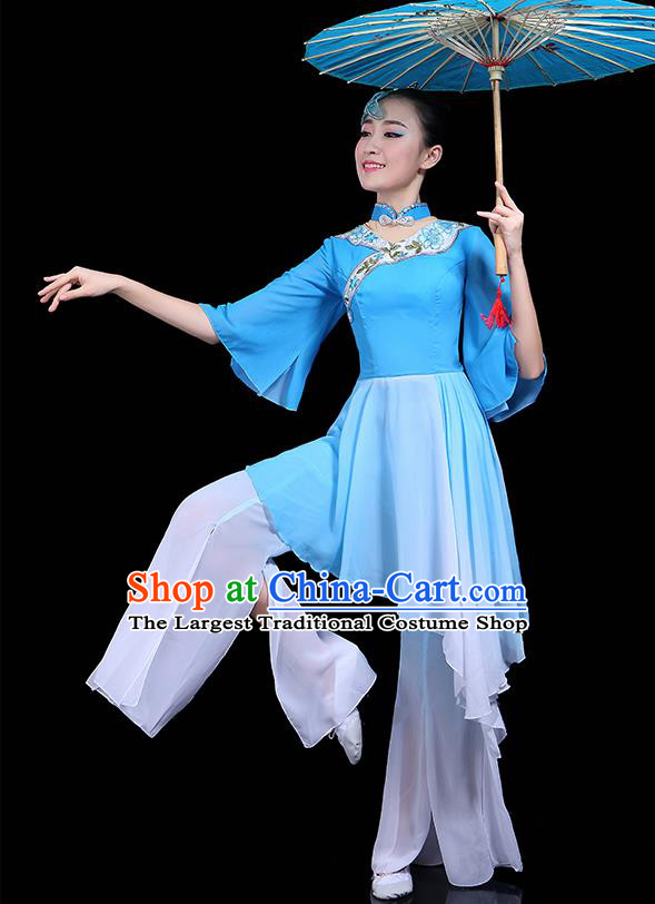 Traditional Classical Dance Blue Dress Chinese Folk Dance Umbrella Dance Costume for Women