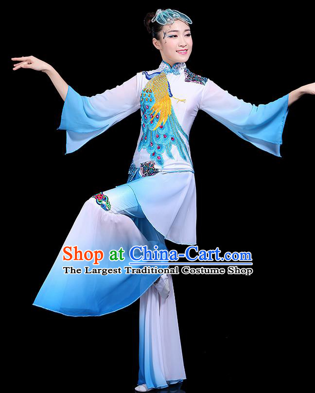 Traditional Classical Dance Yangge Blue Clothing Chinese Folk Dance Umbrella Dance Costume for Women