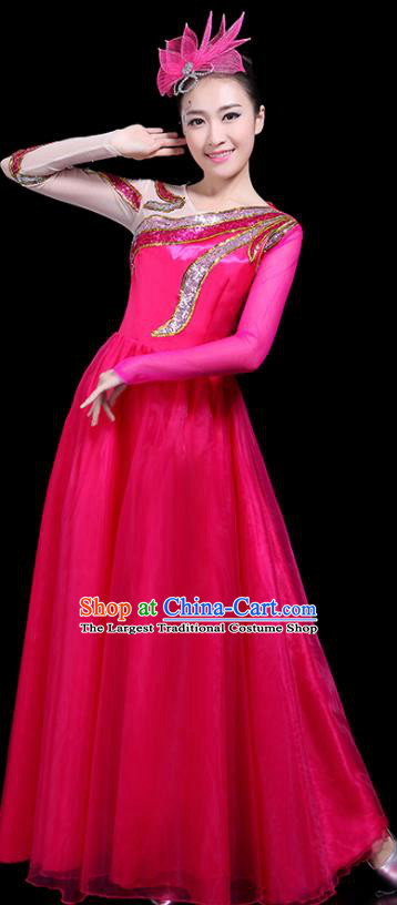 Professional Dance Modern Dance Costume Stage Performance Chorus Rosy Long Dress for Women