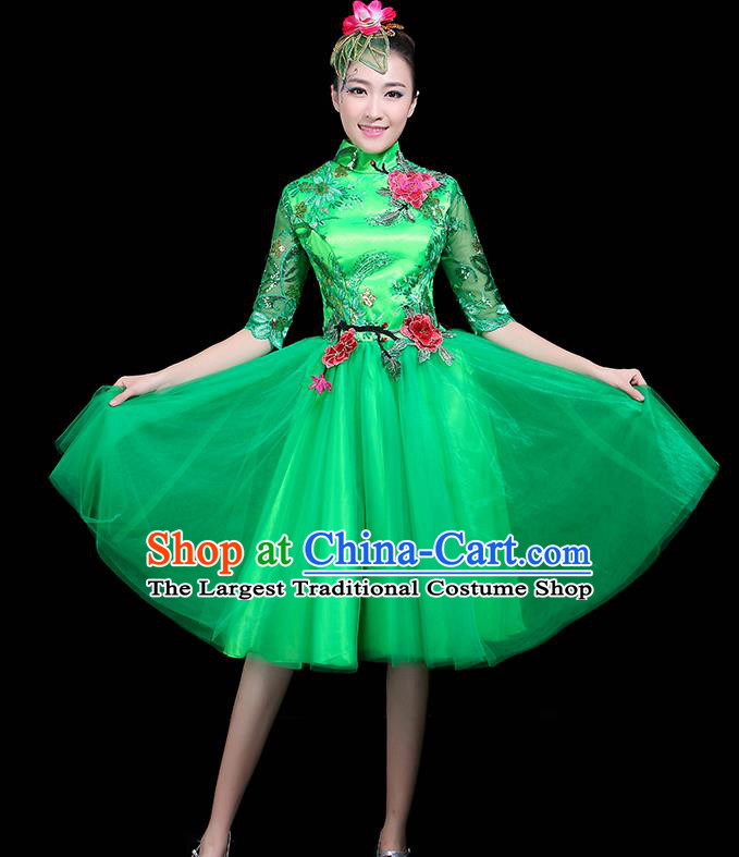 Professional Dance Modern Dance Green Dress Stage Performance Chorus Costume for Women