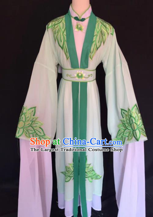 Chinese Traditional Beijing Opera Diva Green Clothing Peking Opera Buddhist Nun Costume for Adults
