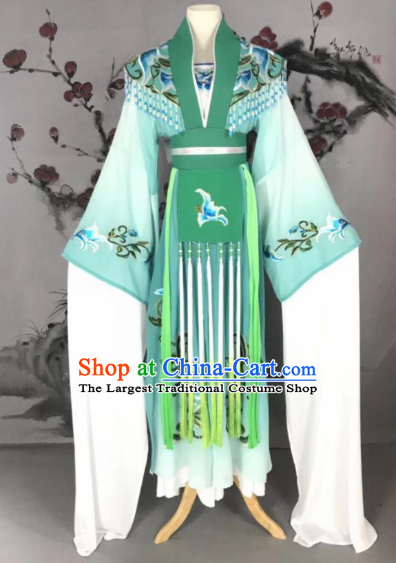 Chinese Traditional Beijing Opera Princess Green Hanfu Dress Peking Opera Diva Water Sleeve Costume for Adults