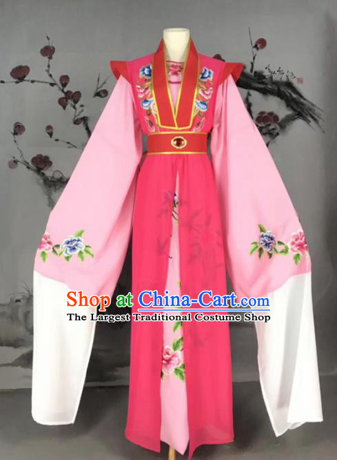 Chinese Traditional Beijing Opera Scholar Costume Peking Opera Niche Rosy Embroidered Robe for Adults
