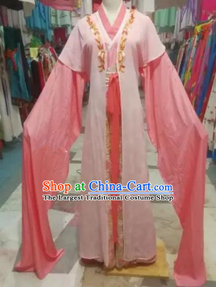 Chinese Traditional Beijing Opera Princess Water Sleeve Pink Dress Peking Opera Actress Costume for Adults