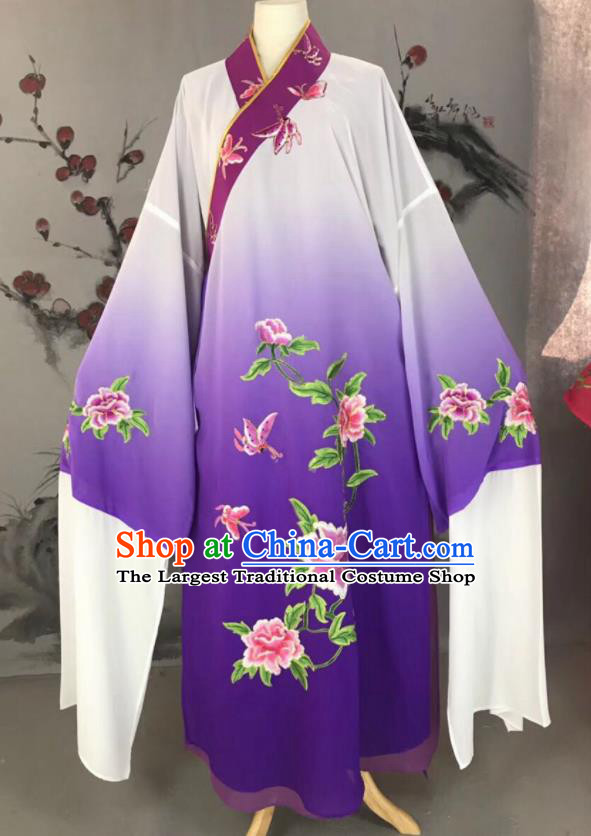 Chinese Traditional Beijing Opera Scholar Costume Peking Opera Niche Purple Embroidered Robe for Adults