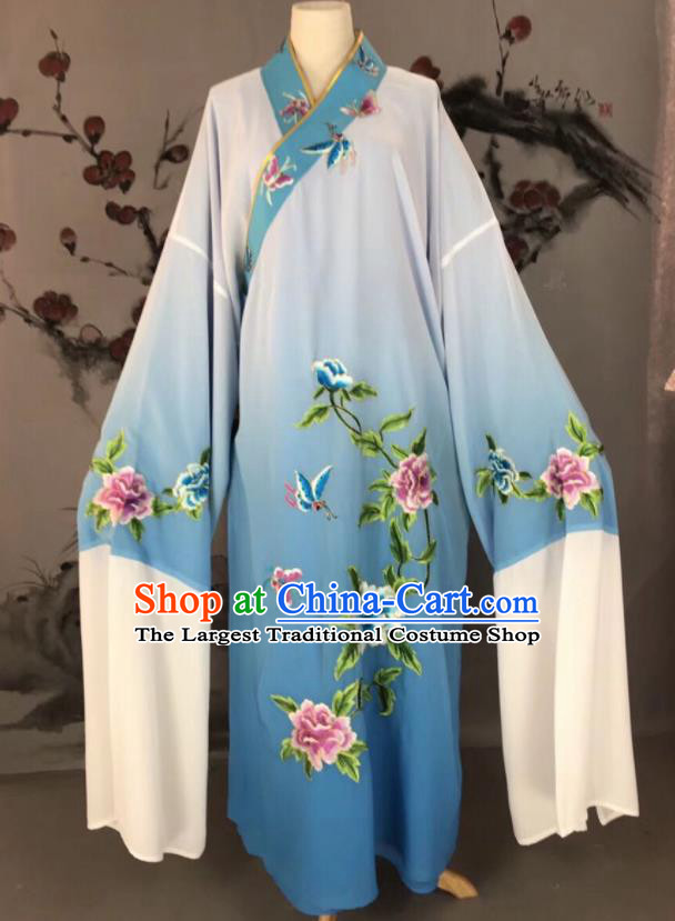 Chinese Traditional Beijing Opera Scholar Costume Peking Opera Niche Blue Embroidered Robe for Adults