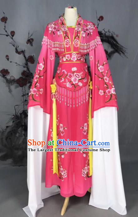 Chinese Traditional Beijing Opera Pink Embroidered Dress Peking Opera Actress Costume for Rich