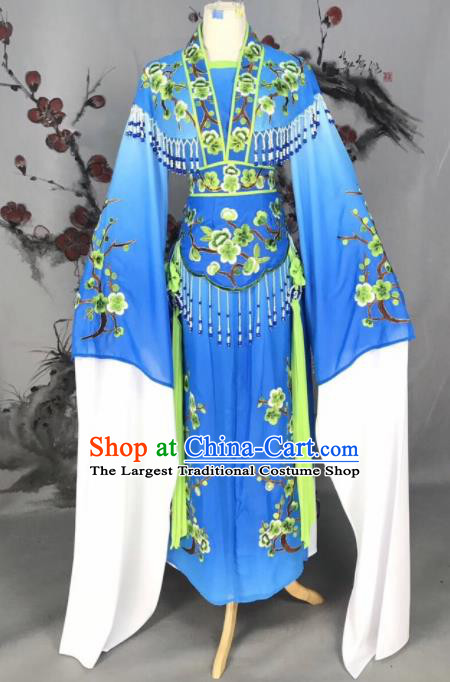 Chinese Traditional Beijing Opera Blue Embroidered Dress Peking Opera Actress Costume for Rich