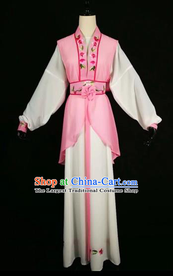 Chinese Traditional Beijing Opera Young Lady Pink Dress Peking Opera Maidservants Costumes for Adults