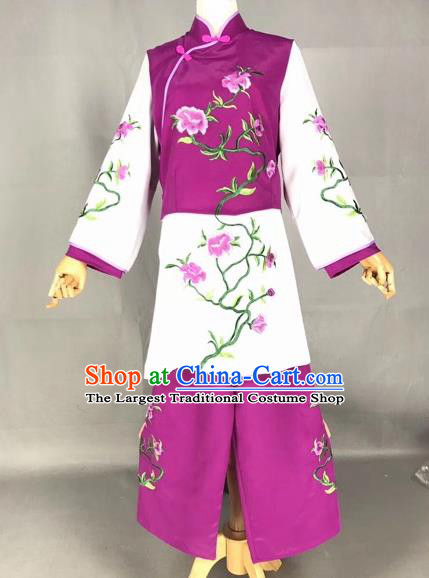 Chinese Traditional Beijing Opera Maidservants Embroidered Purple Clothing Peking Opera Diva Costumes for Adults