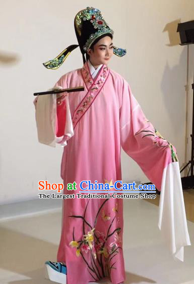 Chinese Traditional Beijing Opera Scholar Costume Peking Opera Embroidered Orchid Pink Robe for Adults