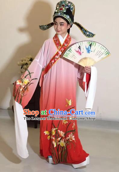 Chinese Traditional Beijing Opera Scholar Costume Peking Opera Embroidered Orchid Red Robe for Adults