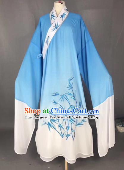 Chinese Traditional Beijing Opera Scholar Costume Peking Opera Embroidered Bamboo Blue Robe for Adults