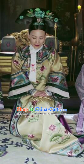 Drama Ruyi Royal Love in the Palace Chinese Ancient Qing Dynasty Palace Queen Costumes and Headpiece Complete Set