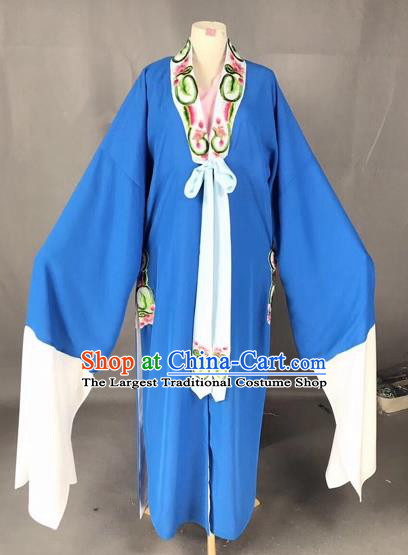 Chinese Traditional Beijing Opera Scholar Costume Peking Opera Niche Blue Robe for Adults