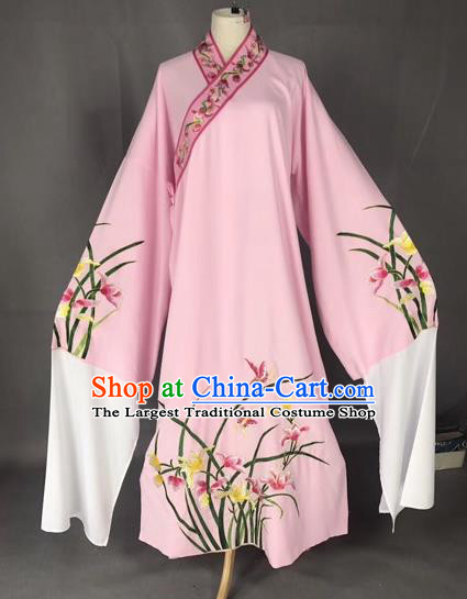 Chinese Traditional Beijing Opera Scholar Embroidered Orchid Pink Robe Peking Opera Niche Costume for Adults