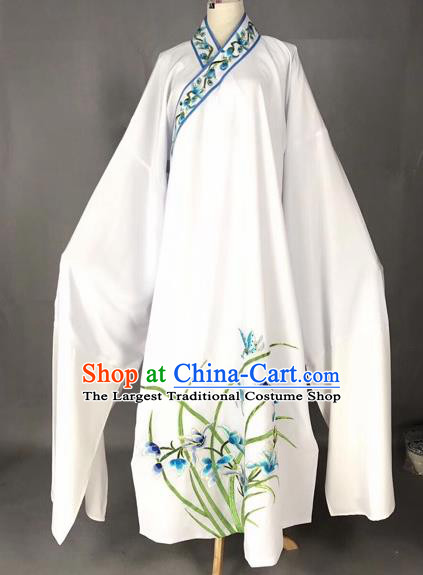 Chinese Traditional Beijing Opera Scholar Embroidered Orchid White Robe Peking Opera Niche Costume for Adults