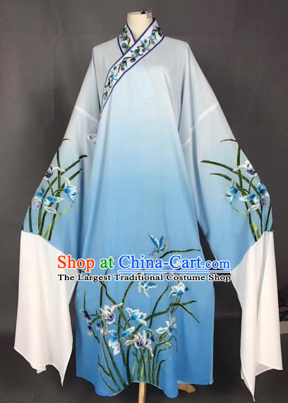 Chinese Traditional Beijing Opera Scholar Embroidered Orchid Gradient Blue Robe Peking Opera Niche Costume for Adults