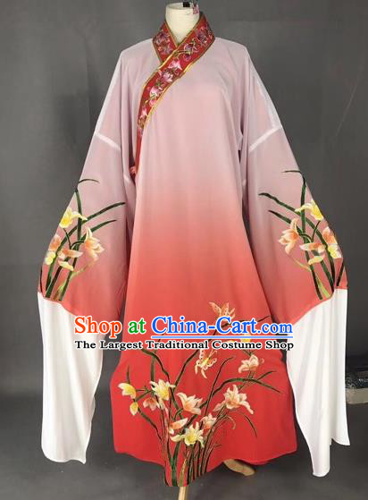 Chinese Traditional Beijing Opera Scholar Embroidered Orchid Gradient Red Robe Peking Opera Niche Costume for Adults
