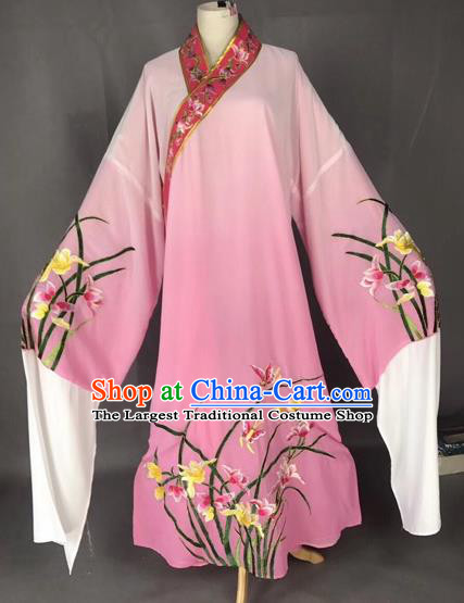 Chinese Traditional Beijing Opera Scholar Embroidered Orchid Gradient Pink Robe Peking Opera Niche Costume for Adults