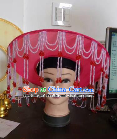 Chinese Traditional Beijing Opera Fishing Lady Red Hat Peking Opera Drakan Headwear for Adults