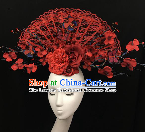 Top Halloween Red Lace Hair Accessories Stage Show Chinese Traditional Catwalks Headpiece for Women