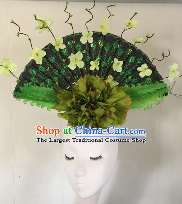 Top Halloween Green Peony Hair Accessories Stage Show Chinese Traditional Catwalks Headpiece for Women