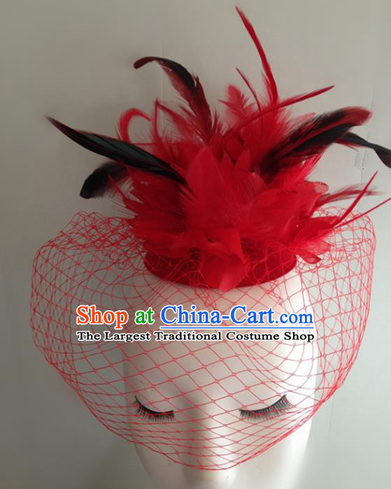 Top Halloween Catwalks Hair Accessories Stage Show Red Feather Top Hat Headdress for Women