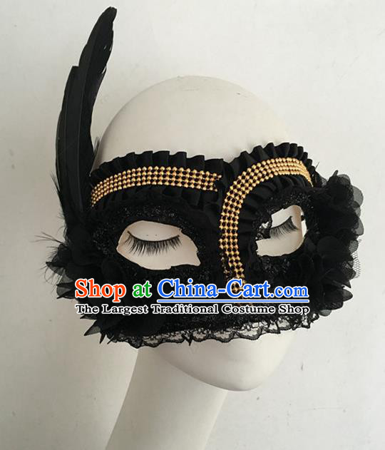 Top Halloween Accessories Brazilian Carnival Catwalks Black Feather Face Masks for Women