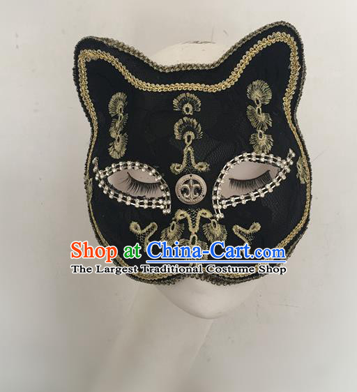 Top Halloween Stage Show Accessories Black Cat Mask Brazilian Carnival Catwalks Face Masks