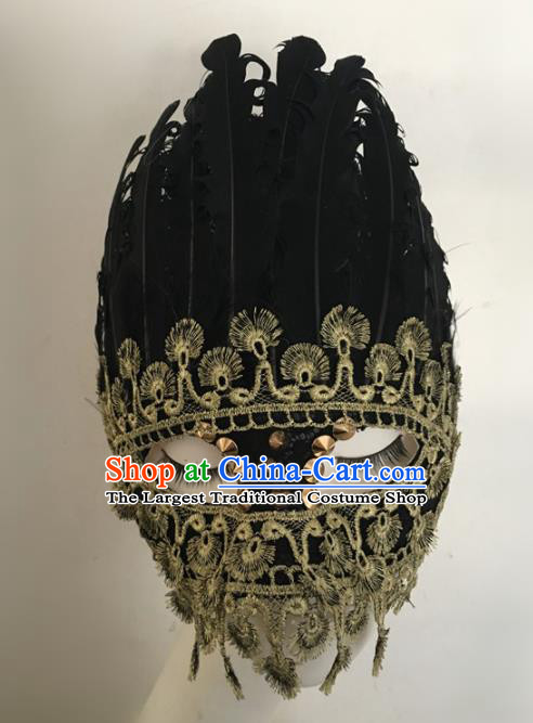 Top Halloween Stage Show Accessories Black Feather Mask Brazilian Carnival Catwalks Face Masks