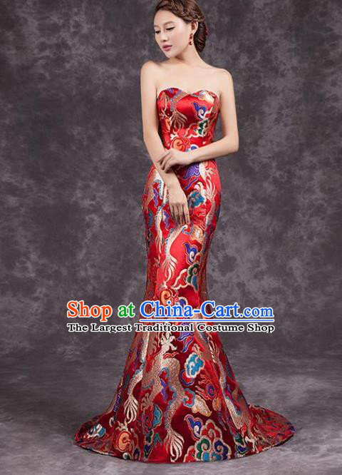 Chinese Traditional Costume Classical Qipao Dress Elegant Embroidered Dragon Red Cheongsam for Women