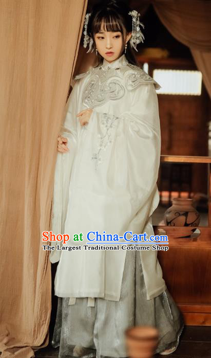 Chinese Ancient Ming Dynasty Imperial Concubine Embroidered Silk Historical Costumes Complete Set