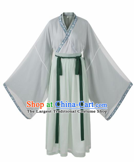 Chinese Jin Dynasty Swordswoman Green Hanfu Dress Ancient Peri Costumes Complete Set