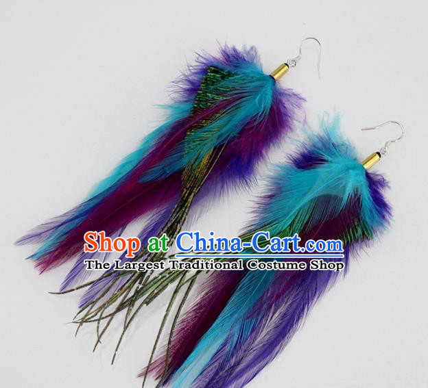 Top Halloween Ear Accessories Carnival Catwalks Purple and Blue Feather Earrings for Women