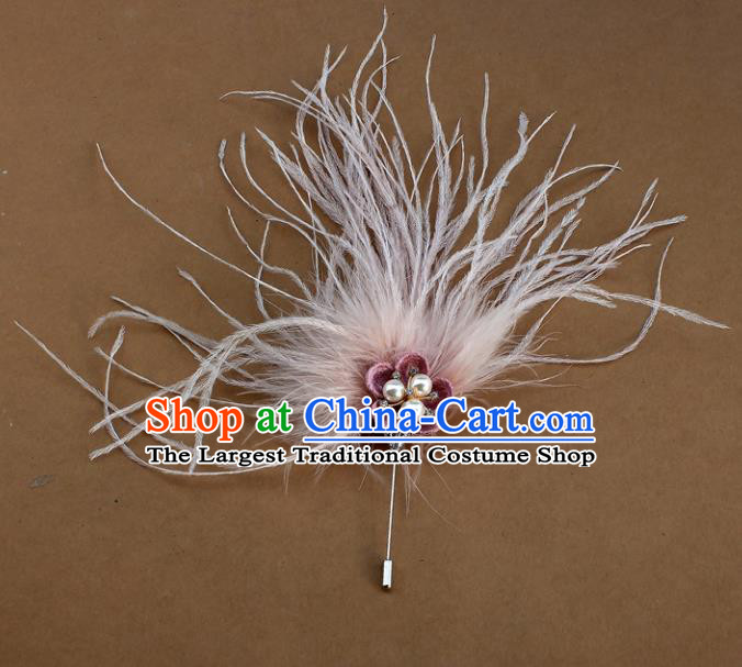 Handmade Breastpin Accessories Stage Show Pink Feather Brooch for Women
