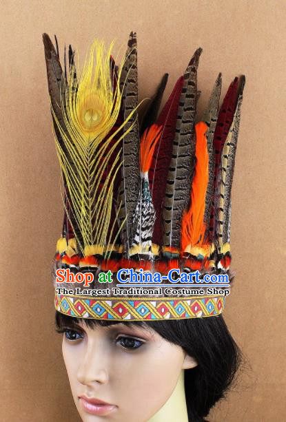 Top Rio Carnival Dance Hair Accessories Cosplay Primitive Tribe Apache Knight Feather Hat for Adults