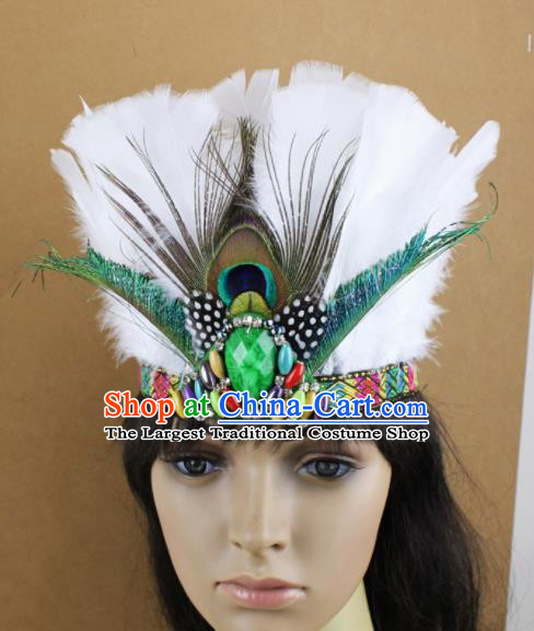 Top Rio Carnival White Feather Hair Accessories Halloween Cosplay Primitive Tribe Apache Knight Hat for Adults