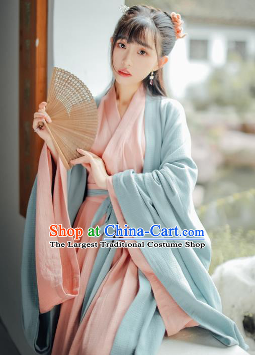 Chinese Traditional Jin Dynasty Swordswoman Historical Costumes Ancient Princess Hanfu Dress for Women