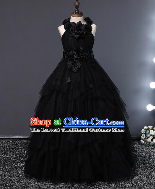 Children Modern Dance Costume Opening Dance Compere Catwalks Performance Black Full Dress for Girls Kids