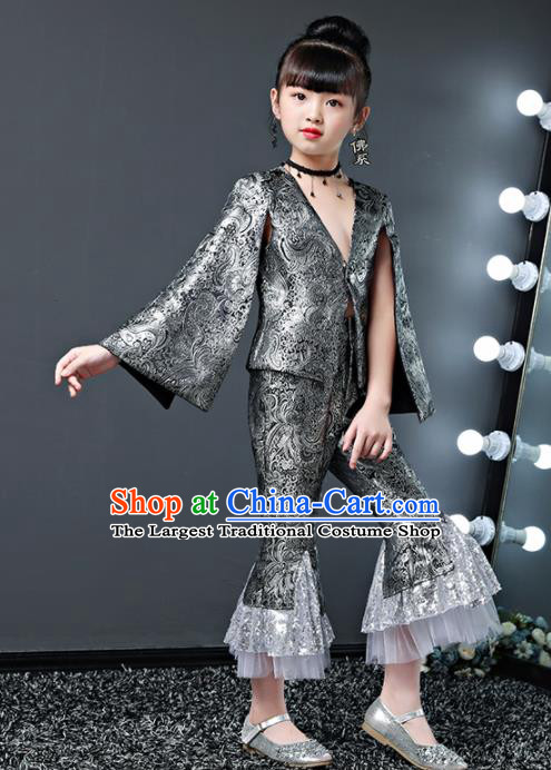 Children Modern Dance Costume Court Dance Compere Halloween Catwalks Grey Suits for Girls Kids