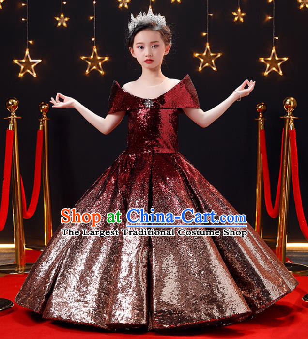 Top Modern Dance Costume Children Opening Dance Compere Performance Wine Red Full Dress for Girls Kids