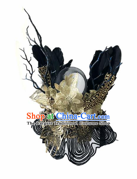 Top Fancy Dress Ball Golden Lace Feather Masks Brazilian Carnival Halloween Cosplay Face Mask for Women