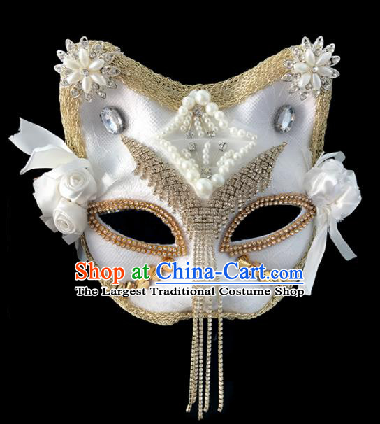 Top Fancy Dress Ball White Cat Masks Brazilian Carnival Halloween Cosplay Face Mask for Women