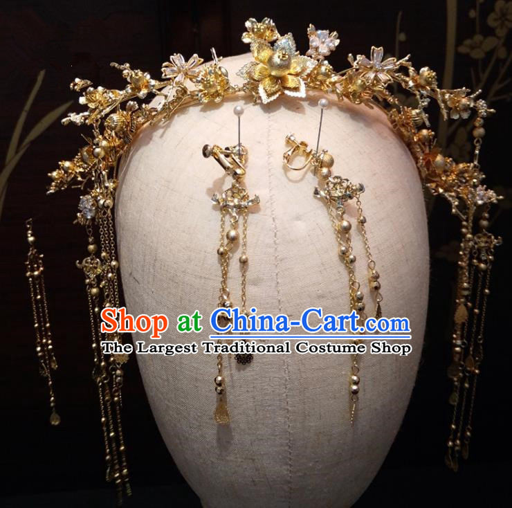 Top Chinese Traditional Wedding Golden Flowers Phoenix Coronet Classical Hairpins Headdress for Women